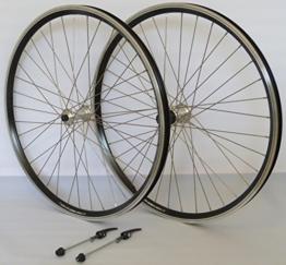 26 Zoll Fahrrad Laufradsatz Dynamic 4 Hohlkammerfelge schwarz Shimano TX800 mit Schnellspannern silber Niro silber 36 Loch - 1