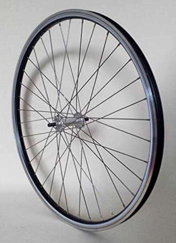 28 Zoll Fahrrad Laufrad Vorderrad REFLEX Hohlkammerfelge schwarz mit Alu-Vollachsnabe für V-Brakes / Felgenbremse -