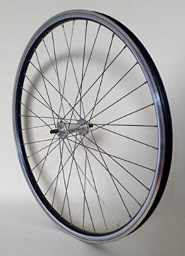 28 Zoll Fahrrad Laufrad Vorderrad REFLEX Hohlkammerfelge schwarz mit Alu-Vollachsnabe für V-Brakes / Felgenbremse - 1