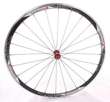 28 Zoll Novatec Carbon/Alu Rennrad Laufradsatz rot / Mach1 VIA32 / DT Competition 1710 g - 3