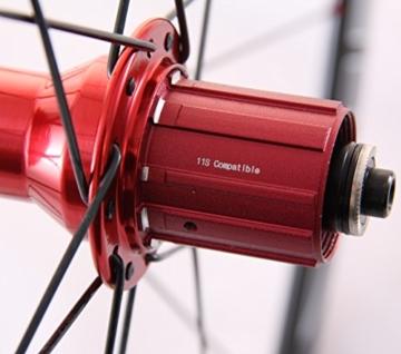 28 Zoll Novatec Carbon/Alu Rennrad Laufradsatz rot / Mach1 VIA32 / DT Competition 1710 g - 5