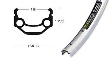 Felge Exal MX 19 26″silber 559-19 VL 8,5 mm 36 Loch,mit Ösen -