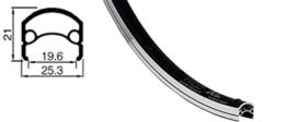 Felge Rodi Web Xl 19-559, Web XL, E-BIKE, extrahohe abgedrehte Bremsflanke, schwarz - 1