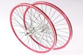 """KHE Fixie Laufradsatz 700c 28"""" Industriegelagert Doppelkammerfelge rot mit Starr+Freilaufritzel Made in Germany E10 - 1"""