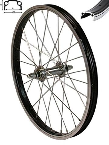 """REDONDO 16 Zoll Vorderrad Laufrad Fahrrad 16"""" Kasten Felge Aluminium Schwarz - 1"""