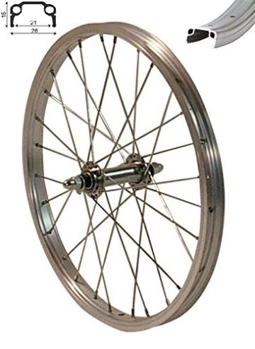 REDONDO 18 Zoll Vorderrad Laufrad Fahrrad 18″ Kasten Felge Aluminium Silber -