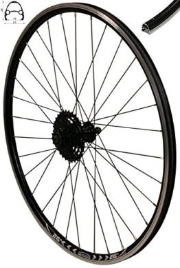 REDONDO 26 Zoll Hinterrad Laufrad V-Profil Felge Schwarz 8-fach Shimano Kassette - 1