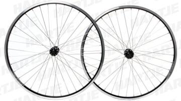 RODI Laufradsatz Deore Alu-Hohlkammer-Felge Vision, einfach geöst, DV, seitlich abgedreht, mit Verschleißindikator, 36 Speichen, (Niro silber), Shimano Nabe Deore HB-T610/FH-T610, mit Schnellspanner, 8-/9-/10-fach, schwarz matt, 26, 19-55 -