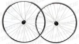 RODI Laufradsatz Deore Alu-Hohlkammer-Felge Vision, einfach geöst, DV, seitlich abgedreht, mit Verschleißindikator, 36 Speichen, (Niro silber), Shimano Nabe Deore HB-T610/FH-T610, mit Schnellspanner, 8-/9-/10-fach, schwarz matt, 26, 19-55 - 1
