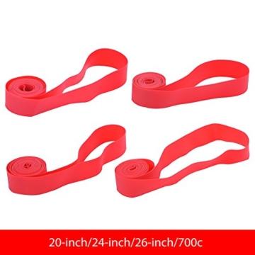 Dilwe Fahrradreifen Liner, PVC Rote Fahrradfelgenstreifen Felgenband für 20 Zoll 24 Zoll 26 Zoll 700C Reiträder(24inch) - 3