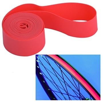Dilwe Fahrradreifen Liner, PVC Rote Fahrradfelgenstreifen Felgenband für 20 Zoll 24 Zoll 26 Zoll 700C Reiträder(24inch) - 4