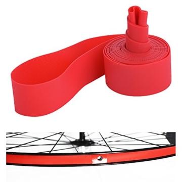 Dilwe Fahrradreifen Liner, PVC Rote Fahrradfelgenstreifen Felgenband für 20 Zoll 24 Zoll 26 Zoll 700C Reiträder(24inch) - 1