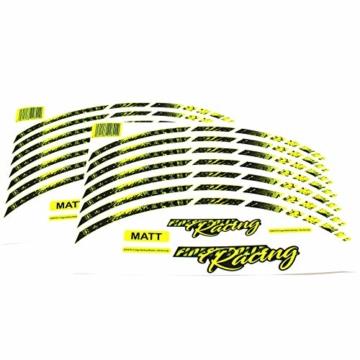 18 Teiliges Felgenrandaufkleber Neon Line Felgendesign inkl. Felgenbettaufkleber Komplett-Set -Finest Folia passend für 17 Zoll & 16