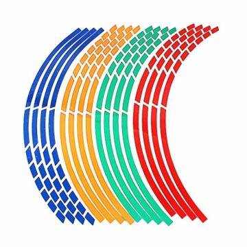 Beito 16 PC Felgen Aufkleber Reflektierende Aufkleber Breakpoint- Streifen Klebeband 17,' - 18,' für Motorrad-Auto-Fahrrad (blau) - 2