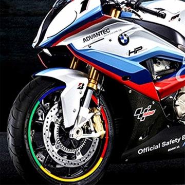 Beito 16 PC Felgen Aufkleber Reflektierende Aufkleber Breakpoint- Streifen Klebeband 17,' - 18,' für Motorrad-Auto-Fahrrad (blau) - 3