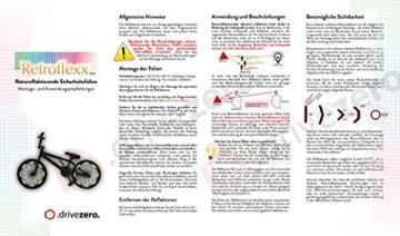 .drivezero. Retroflexx Reflektorenbögen 4 mm für Fahrradfelgen, 36 Stück in Schwarz (Weiß reflektierend) - 3