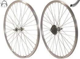 Exal Redondo 28 Zoll Laufrad Set Hinterrad + Vorderrad V-Profil Silber + 7-Fach Shimano Kranz - 1