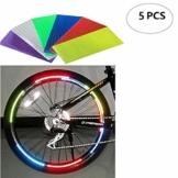 Fahrrad Reflektierende Aufkleber Set 5 PCS Bunte Fahrrad Felge Aufkleber Rot Grün Silber Blau Gelb Rot Reflex-Aufkleber Sicherheitsspeichenreflektor Clips Felgenrandaufkleber Fahrradfelgen - 1