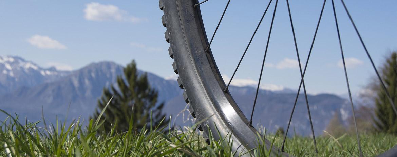Fahrradfelge Header: Bike in der Natur mit Bergen