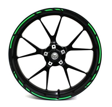 """Felgenrandaufkleber Speed Design 12 Teilig Komplett-Set -Finest Folia passend für 17 Zoll & 16"""" 18"""" 19"""" Felgen Motorrad Auto Fahrrad (Neon Grün) - 1"""