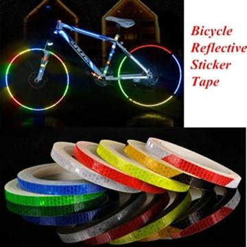 HCFKJ Reflektierende Aufkleber Motorrad Fahrrad Reflektor Fahrrad Radfahren Sicherheit Felge Aufkleber Band Safer (B) - 3
