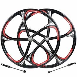 HYHD Rennrad Felgen 6-Loch-Radsatz Mit Radnabenscheibe Aus Magnesium-Aluminium-Legierung Felgen MTB 26C,Black - 1