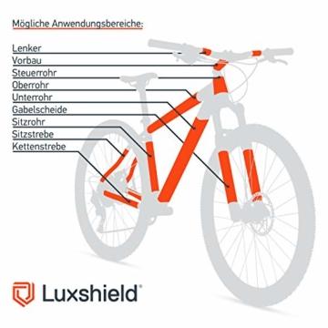 Luxshield Fahrrad Lackschutzfolie für Mountainbike, BMX, Rennrad, Trekkingrad etc. - 21-teiliges Rahmen-Set gegen Steinschlag - Carbon Optik & selbstklebend - 2