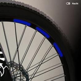 Motoking Fahrrad-Reflektorenaufkleber mit Waben-Reflex-Optik - Blau - 22 Aufkleber im Set - Breite: 10 mm - reflektierende Felgenaufkleber für Mountainbike-, Fahrradfelgen & mehr - 1