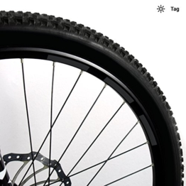 Motoking Fahrrad-Reflektorenaufkleber - Schwarz - 22 Aufkleber im Set - Breite: 10 mm - reflektierende Felgenaufkleber für Mountainbike-, Fahrradfelgen & mehr - 1
