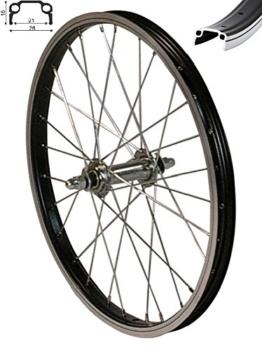 """Redondo 20 Zoll Vorderrad Laufrad Fahrrad 20"""" Kasten Felge Aluminium Schwarz - 1"""