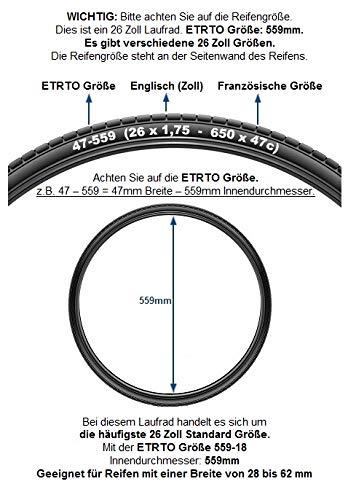 Redondo 26 Zoll Hinterrad Laufrad Hohlkammer V-Prof Felge + 7-Fach Kranz Schwarz - 2