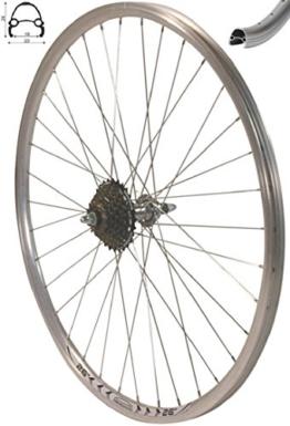 Redondo 26 Zoll Hinterrad Laufrad Hohlkammer V-Prof Felge + 7-Fach Kranz Silber - 1