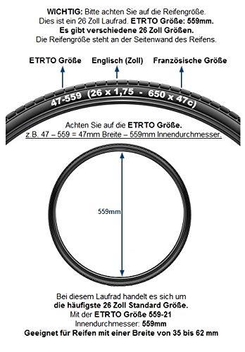 Redondo 26 Zoll Hinterrad Laufrad Kasten Felge + 7-Fach Shimano Kranz Schwarz - 2