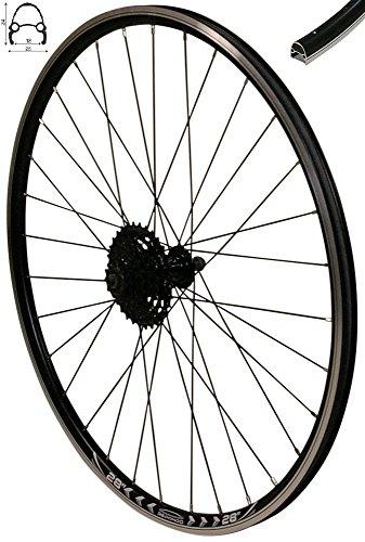 Redondo 28 Zoll Hinterrad Laufrad V-Profil Felge Schwarz 8-Fach Shimano Kassette - 1