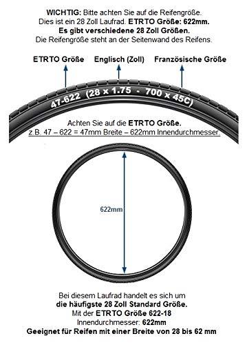 Redondo 28 Zoll Vorderrad Laufrad Fahrrad V-Profil Felge Schwarz 6 Loch Disc - 2