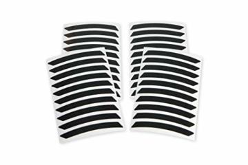 Reflektoren-Aufkleber fürs Fahrrad - 40 Streifen im Set - optimal für 27,5″ 28″ und 29″ Felgen - Farbe schwarz (weiß reflektierend) - hochwertige Sticker aus robuster 3MTM Qualitäts-Reflexfolie - 3