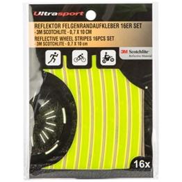 Ultrasport reflektierende Felgenrandaufkleber (16er-Pack) - Sichere Sichtbarkeit zum Aufkleben, Neon Gelb - 1