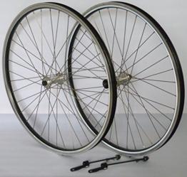 Vuelta 28 Zoll Fahrrad Laufradsatz Reflex Hohlkammerfelge schwarz Shimano TX500 inkl. Schnellspanner Silber NIRO Silber - 1