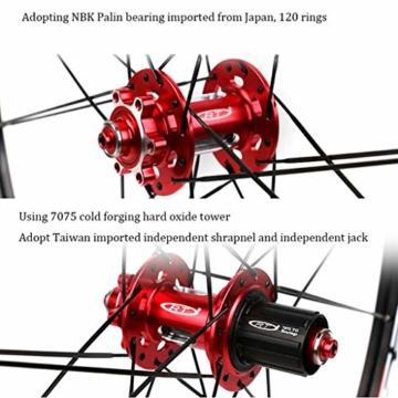 ZNND Mountainbike Räder, 26inch Doppelwandig MTB-Felge Schnelle Veröffentlichung V-Brake Fahrrad Laufradsatz Hybrid 24 Loch Scheibe 8 9 10 Geschwindigkeit (Color : B, Size : 26inch) - 2