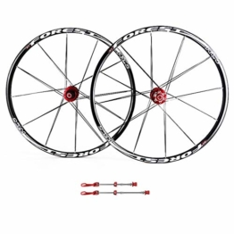 ZNND Mountainbike Räder, 26inch Doppelwandig MTB-Felge Schnelle Veröffentlichung V-Brake Fahrrad Laufradsatz Hybrid 24 Loch Scheibe 8 9 10 Geschwindigkeit (Color : B, Size : 26inch) - 1