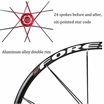 ZNND Mountainbike Räder, 26inch Doppelwandig MTB-Felge Schnelle Veröffentlichung V-Brake Fahrrad Laufradsatz Hybrid 24 Loch Scheibe 8 9 10 Geschwindigkeit (Color : B, Size : 26inch) - 5