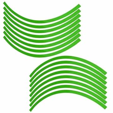 Yctze 16er Felgenstreifen Felgenband Dekor Zierleisten Passend für 16-19 Zoll Auto, Fahrrad und Mortorcycle Felgen(Fluoreszierendes Grün) - 2