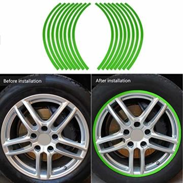 Yctze 16er Felgenstreifen Felgenband Dekor Zierleisten Passend für 16-19 Zoll Auto, Fahrrad und Mortorcycle Felgen(Fluoreszierendes Grün) - 3