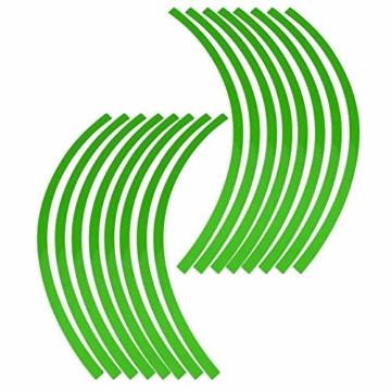 Yctze 16er Felgenstreifen Felgenband Dekor Zierleisten Passend für 16-19 Zoll Auto, Fahrrad und Mortorcycle Felgen(Fluoreszierendes Grün) - 4