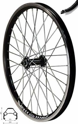Redondo 20 Zoll Vorderrad Laufrad Fahrrad Hohlkammer Faltrad Felge Schwarz - 1