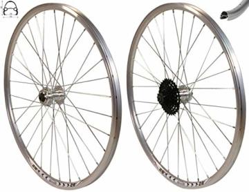 Redondo 28 Zoll Laufrad Set Vorderrad Hinterrad Disc Felge Silber + 8 Fach Kranz - 1