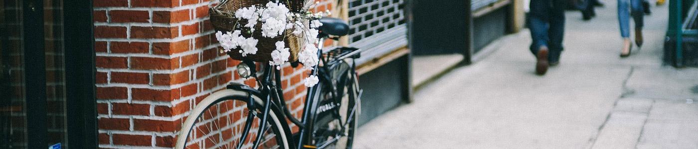 Fahrradfelge Header City: Blumen im Fahrradkorb